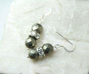 Pyrite-Faceted-Ball-Gemstone-amp-Rhinestone-925-Sterling-Silver-Earrings-1-1-2-034