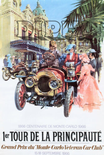 PLAQUE ALU DECO 1ER TOUR DE LA PRINCIPAUTE MONTE CARLO 1966 MEDITERRANEE SOLEIL