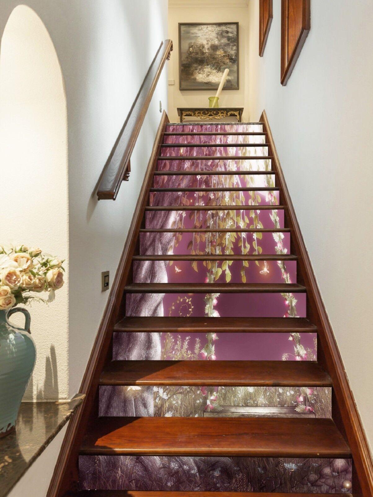 3D Moon leaves 7 Stair Risers Decoration Photo Mural Vinyl Decal Wallpaper UK