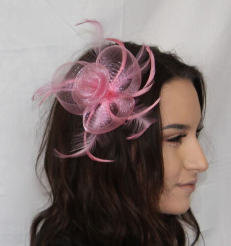 Pastel Pink Light Pink Net Flower Feather Fascinator Clip /& Pin Weddings Dance