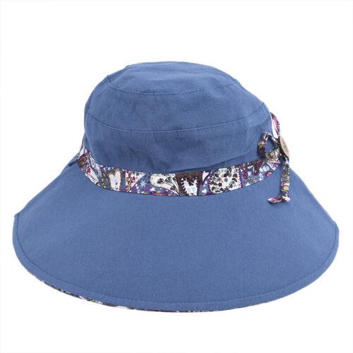 Women Summer Beach Travel Bowknot Wide Brim Sun Hat Reversible Foldable Ca CP