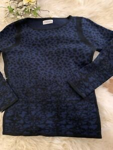 Details about Velvet by Graham and Spencer blue black animal print sweater size small
