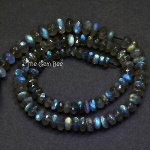 6.8mm-9.5mm Blue Flash Labradorite Carved Fluted Melon Rondelle Beads 18 strand