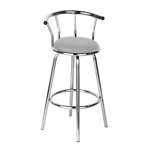 Image Is Loading Silver Bar Stool Revolving Contemporary Grey Padded Seat