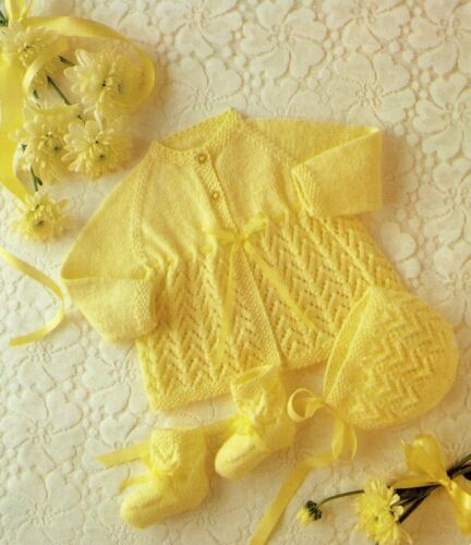 Baby 4 Ply Knitting Pattern Matinee Cardigan Set  Sizes 16-20  inches #20