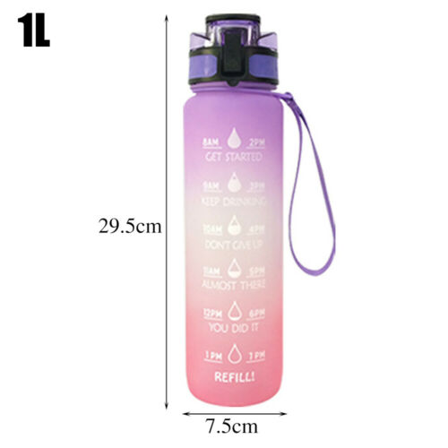 Details about  /1000ML Water Bottles Sports Large Capacity Drinking Bottles Gym Running Swim US