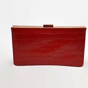 Giani-Bernini-Red-Leather-Reptile-Print-Clutch-With-Gold-Tone-Chain-Strap