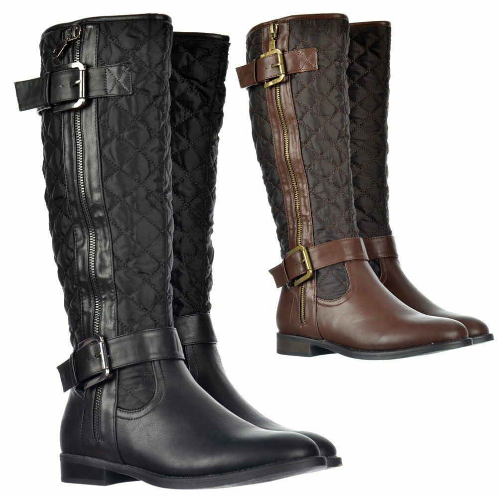 WOMENS BUCKLES STRAPS KNEE HIGH QUILTED WINTER RIDING BOOTS BLACK BROWN SIZE