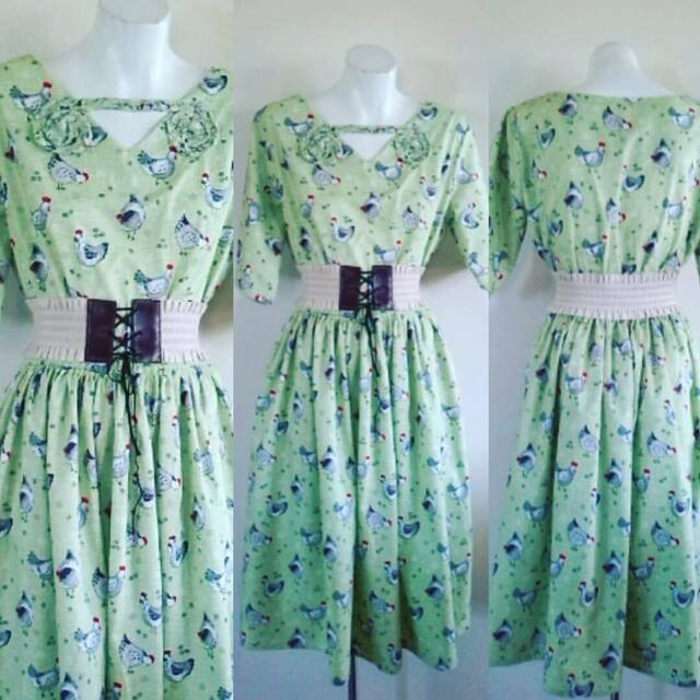 HARAH DESIGNS  CHICKEN PRINT GREEN 100% 3/4 sleeve calf length COTTON 50S DRESS