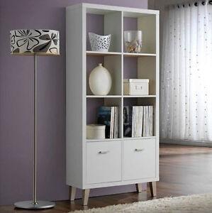 Vintage White Bookcase Large Retro Cabinet Shelf Room Furniture ...