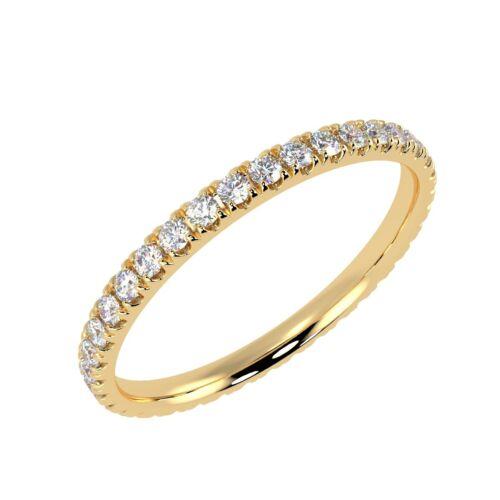 2MM Micro Pave Completo Diamante Redondo Anillo de la eternidad amarillo oro Reino Unido caracteriza