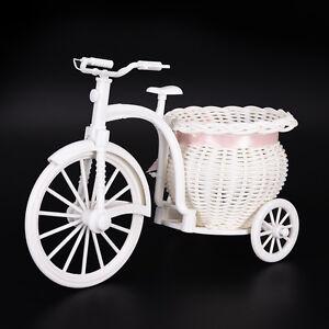 Plastic-White-Tricycle-Bike-Design-Flower-Basket-Storage-Party-Decor-26cm-XE