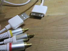 AV Cable + USB for Apple Ipod Nano Video, Classic, Touch & Iphone 4/4S TV Lead