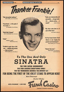 FRANK-SINATRA-Orig-1952-Trade-print-AD-promo-poster-FRENCH-CASINO-New-York