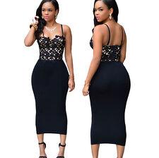 Bustier Lace Top Black Bodycon Dress ladies sheath summer party casual dresses L
