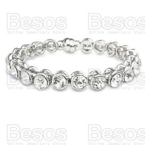 CRYSTAL-BRACELET-rhinestone-SILVER-FASHION-BANGLE-magnetic-clasp-GIFT-BAG-UK