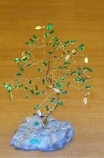 5.75 inch--Synthetic, faceted EMERALD gem tree on a Natural, EMERALD crystals