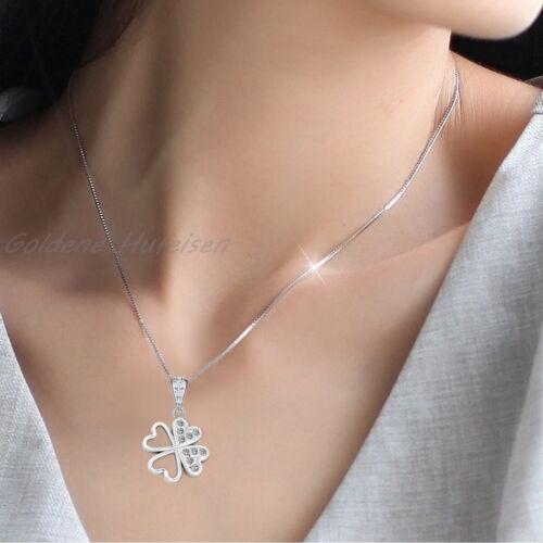 Damen Halskette Kleeblatt Anhänger mit Zirkonia Kristallen 925 Sterlingsilber