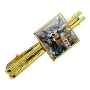 Canadian-Rockies-Mountain-Range-Animals-Square-Tie-Bar-Clip-Clasp-Silver-or-Gold