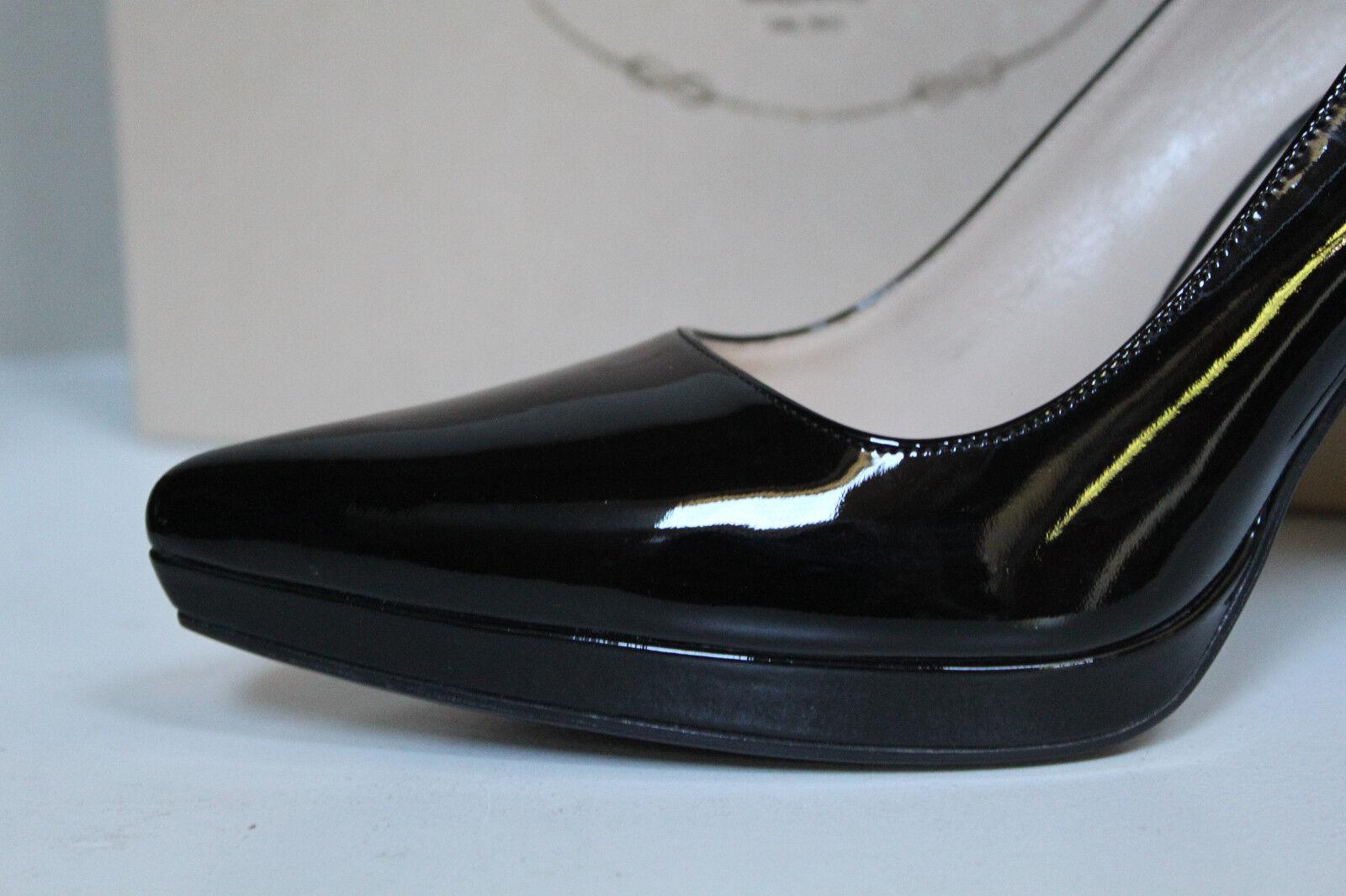 Nouveau sz 10 US 40 Prada noir noir noir cuir verni bout pointu et classique Pompe Chaussures à talon bce0fb