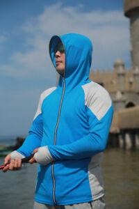 Men's Long Sleeve Fishing Shirt Breathable Hooded Top Shirt UPF50+ Sun Protector