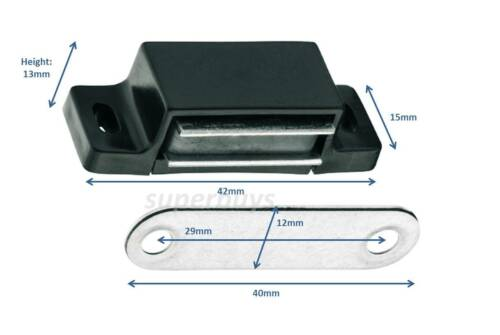 Black w// Screws 5pc 42mm Magnetic Cabinet Cupboard Door Latch Snap Clasp Magnet