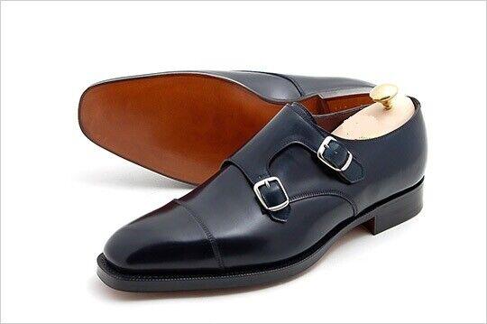 Vestido Casual Zapato Para Hombre Hecho a Mano De Cuero Negro Doble Monje Vestido Formal Wear bota