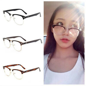 838ef944a63 QA  EG  HALF FRAME CLEAR LENS GLASSES MEN WOMEN SPECTACLES EYEWEAR ...