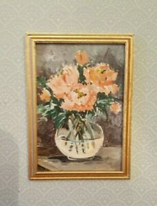 Dollhouse-miniature-OOAK-framed-acrylic-painting-of-peonies-signed