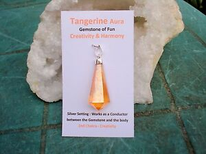Tangerine-Aura-Quartz-Crystal-6-Sides-Point-Pendant-Beautiful-Clarity-Energizer