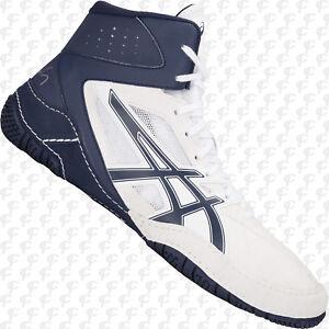 31f6aa9ef513 ASICS Cael V8.0 Mens Wrestling Shoes 1081A002.100 White-Blue FREE ...