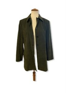 Zara-Basic-Vegan-Faux-Suede-Button-Front-Olive-Green-Overcoat-Jacket-Lined-Large