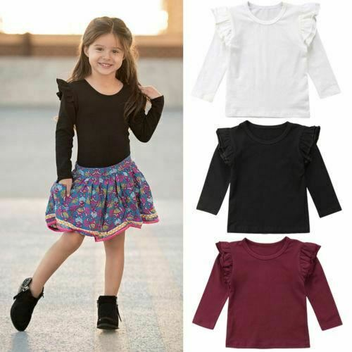 Baby Girl Toddler Kids Ruffle Long Sleeve Tops Tee Shirt Clothes Solid Color T-s