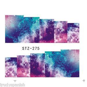 Nail-Art-Water-Decals-Full-Wraps-Purple-Rain-Rainbow-Bubbles-Gel-Polish-S275