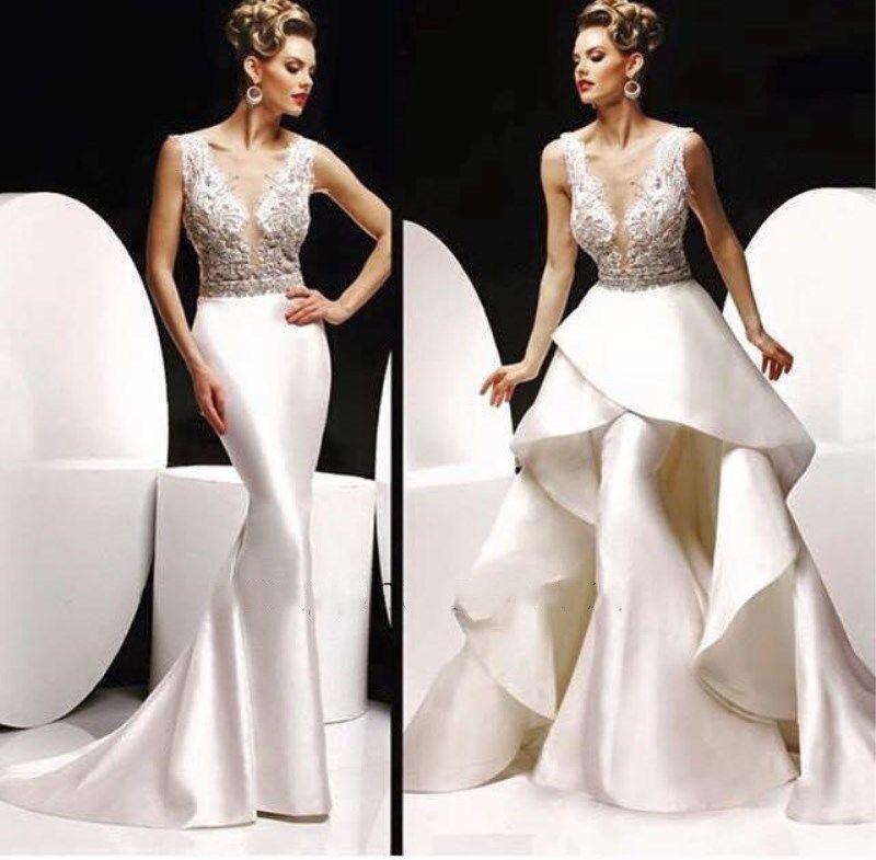 Elegant Bead Long Formal Evening Party Dress Dress Dress Mermaid Detachable Train Prom Gowns ec3b90