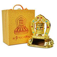 Battery or Solar Power Alloy Prayer Spinning Scriptures Wheel Buddhist Feng Shui