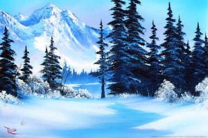 Bob-Ross-Winter-Mountain-Art-Print-PaintingMural-Poster-36x54-inch