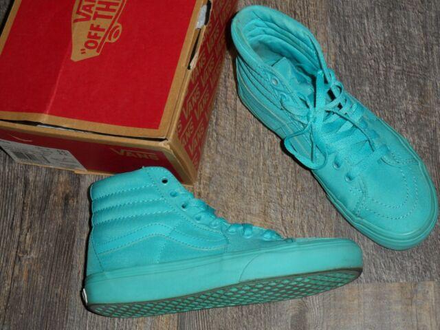 turquoise blue sk8-hi high top Vans