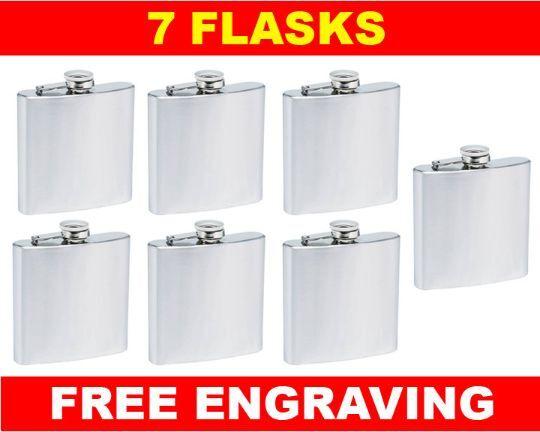 7 Personalized Flasks 6oz Groomsmen Best Man Brides Maids gifts free engraving