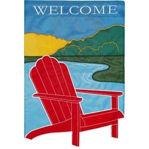 Brilliant Details About Evergreen Adirondack Welcome Double Applique Garden Flag Fast Usa Shipping Short Links Chair Design For Home Short Linksinfo