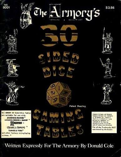 THE ARMORY 30 SIDED DICE GAMING TABLES 8001 VGC  Dungeons & Dragons