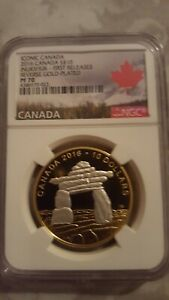 2016-Canada-S-1-Iconic-Canada-Inukshuk-Reverse-Gold-Plated-FR-NGC-PF70-UC