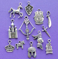 Medieval Charm Collection 12 Tibetan Silver Tone Charms Free Shipping E40