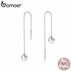 BAMOER-Women-Stud-shell-pearl-Earrings-S925-Sterling-Silver-Pure-flower-Jewelry