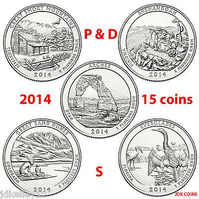 2014 P&D&S NATIONAL PARK QUARTERS COMPLETE 15 COIN SET UNCIRCULATED MINT