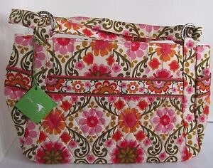 Vera-Bradley-Purse-Handbag-Stephanie-Women-Women-039-s-FOLKLORIC-Floral-Pink-Orange