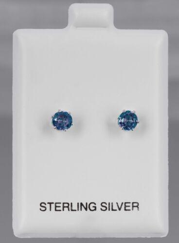 Color Change Alexandrite Stud Earrings 6 Prong 5mm Sterling Silver 925