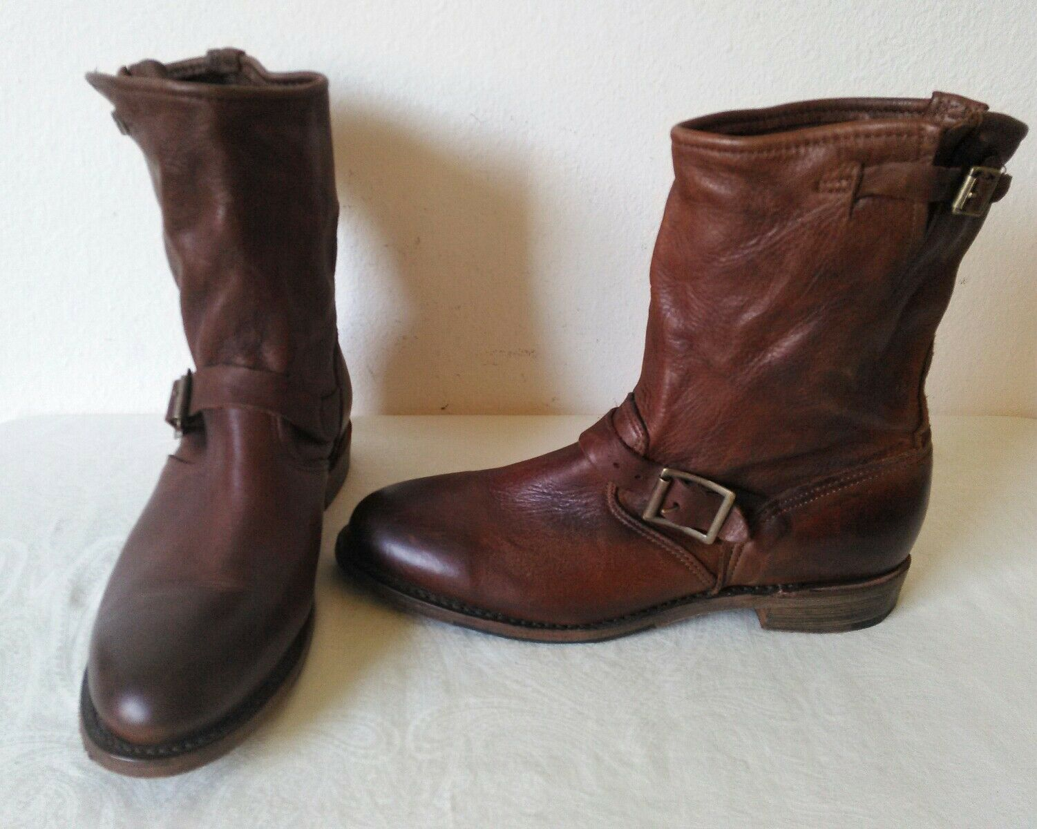 New High quality Vintage schuhe Company women's Braun leather ankle Stiefel Size 9 M