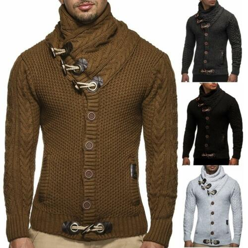 Men Sweater Knitted Cardigans Coat All-Match Outerwear Jackets Blouse Top BD #Z