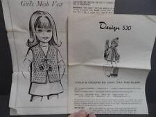 Girl's Crochet Vest. Coat, Hat, & Scarf Vintage Design  Patterns Sizes 4-12
